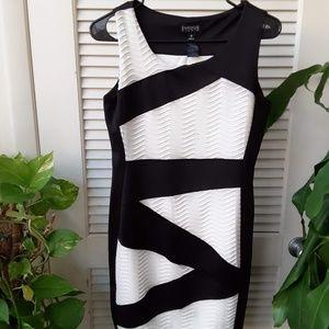 Diagonal Geometric White and Black Dress